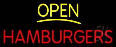 Yellow Open Red Hamburgers LED Neon Sign