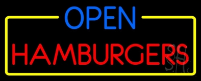 Open Hamburgers LED Neon Sign