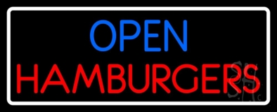 Open Hamburger With Border LED Neon Sign