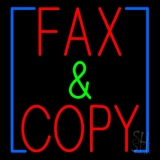 Red Fax And Copy With Border LED Neon Sign