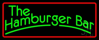 The Hamburger Bar with Red Border LED Neon Sign