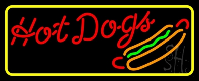 Cursive Red Hotdogs With Border LED Neon Sign