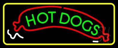 Green Hot Dogs Logo With Border LED Neon Sign