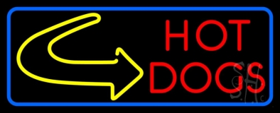 Red Hot Dogs With Arrow LED Neon Sign