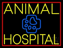 Yellow Animal Hospital with Logo LED Neon Sign