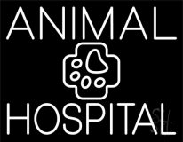 White Animal Hospital with Logo LED Neon Sign