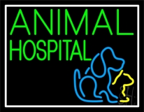 Animal Hospital Logo White Border LED Neon Sign