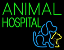 Green Animal Hospital Dog Logo LED Neon Sign