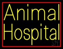 Yellow Animal Hospital Red Border LED Neon Sign