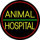 Animal Hospital Red Circle LED Neon Sign