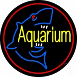 Aquarium Shark Logo Red Circle LED Neon Sign