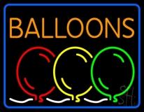 Blue Border Balloon Block Colored Logo LED Neon Sign