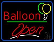 Blue Border Open Balloon Green Line LED Neon Sign