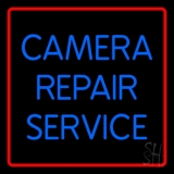 Blue Camera Repair Service Red Border LED Neon Sign