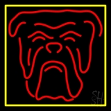 Red Bull Dog Yellow Border LED Neon Sign