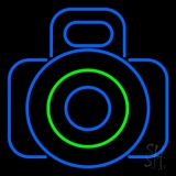 Camera In Blue LED Neon Sign