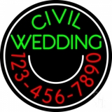 Circle Civil Wedding With Phone Number LED Neon Sign