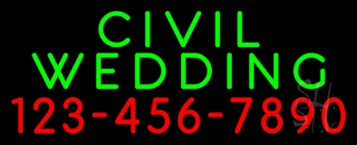 Civil Wedding With Phone Number LED Neon Sign