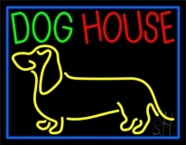 Dog House Blue Border LED Neon Sign