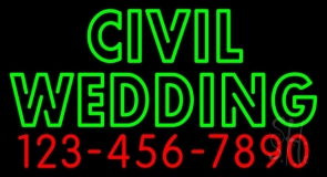 Double Stroke Civil Wedding With Number LED Neon Sign
