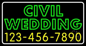 Green Civil Wedding With Phone Number LED Neon Sign