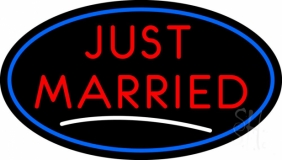 Oval Just Married LED Neon Sign