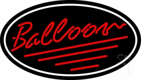 Oval Red Balloon Cursive LED Neon Sign