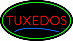 Oval Tuxedos Blue Line LED Neon Sign