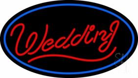 Oval Wedding Cursive LED Neon Sign