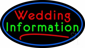 Oval Wedding Information LED Neon Sign