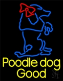 Yellow Poodle Dog Blue Logo LED Neon Sign