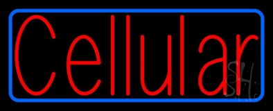 Red Cellular Blue Border LED Neon Sign