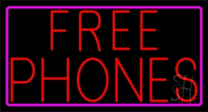 Red Free Phones Pink Border 1 LED Neon Sign