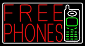 Red Free Phones Pink Border 2 LED Neon Sign