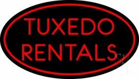 Red Oval Tuxedo Rentals LED Neon Sign