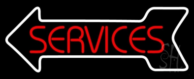 Red Service White Arrow LED Neon Sign