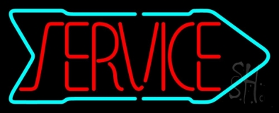 Red Service With Arrow LED Neon Sign