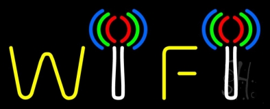 Red Wifi Block 2 LED Neon Sign
