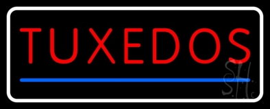 White Border Tuxedos Blue Line Neon Sign