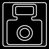 White Camera Black Background LED Neon Sign