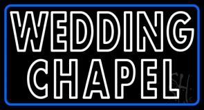 Blue Border Double Stroke Wedding Chapel LED Neon Sign