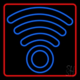 Blue Colored Wifi Logo Red Border LED Neon Sign