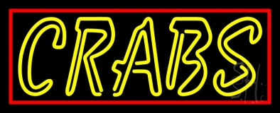 Yellow Crab Logo Red Border LED Neon Sign