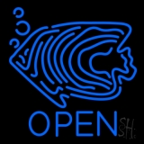Blue Fish Open Block 1 LED Neon Sign