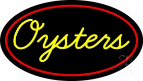 Yellow Oysters Red Oval LED Neon Sign