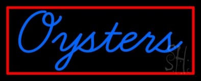 Blue Oysters Red Rectangle LED Neon Sign