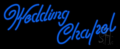 Blue Wedding Chapel Neon Sign