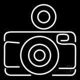 Camera In White LED Neon Sign