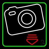 Camera Logo Green Border LED Neon Sign