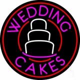 Circle Pink Wedding Cakes LED Neon Sign